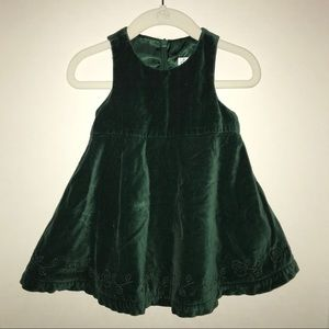 Children's Place emerald green velvet dress